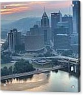 Morning Light Over The City Of Bridges Acrylic Print