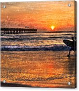 Morning Surf Acrylic Print by Debra and Dave Vanderlaan