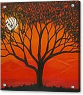 Morning Tree-with Yellow And Orange Sky Lit By Dawn Sun Acrylic Print