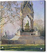 Morning Visitors To The Albert Memorial Oil On Canvas Acrylic Print