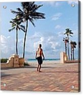 Morning Walk Along The Hollywood Beach Boardwalk Acrylic Print by Shawn Lyte