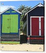 Mornington Beachboxes Acrylic Print by Rachael Curry