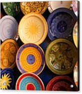 Moroccan Pottery On Display For Sale Acrylic Print by Ralph A  Ledergerber-Photography