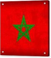 Morocco Flag Vintage Distressed Finish Acrylic Print