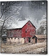 Morris County Red Barn In Snow Acrylic Print