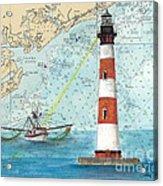 Morris Island Lighthouse Sc Nautical Chart Map Art Acrylic Print