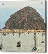 Morro Bay Rock At Dawn Acrylic Print by Artist and Photographer Laura Wrede