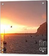 Morro Bay Rock At Sunset Acrylic Print by Artist and Photographer Laura Wrede