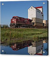 Train Reflection At Mortlach Saskatchewan Grain Elevator Acrylic Print by Steve Boyko