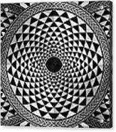 Mosaic Circle Symmetric Black And White Acrylic Print