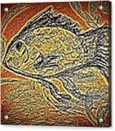 Mosaic Goldfish In Charcoal Acrylic Print
