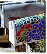 Mosaic Mailbox On The Turquoise Trail In New Mexico Acrylic Print