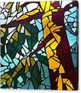 Mosaic Stained Glass - First Tree Acrylic Print by Catherine Van Der Woerd