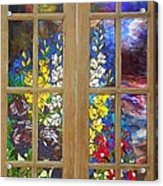 Mosaic Stained Glass - Flower Garden Acrylic Print by Catherine Van Der Woerd