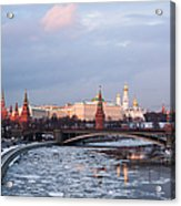 Moscow Kremlin In Winter Evening - Featured 3 Acrylic Print