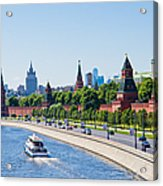 Moscow River And Kremlin Embankment In Summer - Featured 3 Acrylic Print