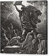 Moses Breaking The Tablets Of The Law Acrylic Print by Gustave Dore