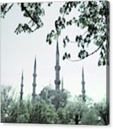 Mosque Behind Trees In Turkey Acrylic Print