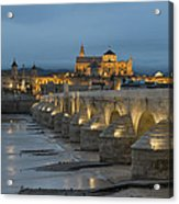 Mosque Cathedral Of Cordoba Also Called The Mezquita And Roman Bridge Acrylic Print
