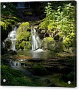 Mossy Rocks Waterfall 1 Acrylic Print by Roger Snyder