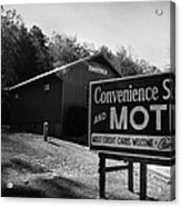 Motel Sign In Black And White Acrylic Print