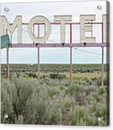 Motel Sign In Field Of Sage Brush, Out Acrylic Print