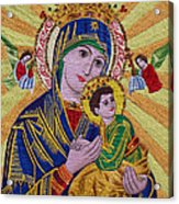 Mother And Child Hand Embroidery Acrylic Print by To-Tam Gerwe