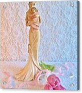Mother And Child With Pink Tulips Acrylic Print