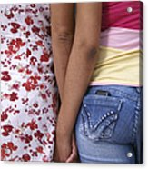 Mother And Daughter Holding Hands Guatemala Acrylic Print