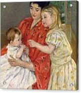 Mother And Sara Admiring The Baby Acrylic Print by Marry Cassatt