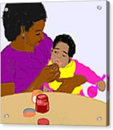 Mother Feeding Her Baby Acrylic Print