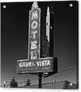 Mother Road Motel Black And White Acrylic Print