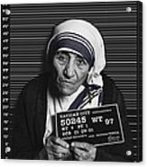 Mother Teresa Mug Shot Acrylic Print by Tony Rubino