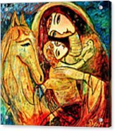 Mother With Child On Horse Acrylic Print