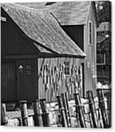Motif Number One Bw Black And White Rockport Lobster Shack Maritime Acrylic Print