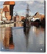 Motlawa River And Port Crane Acrylic Print