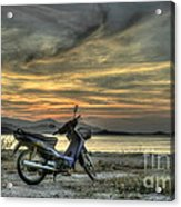 Motorbike At Sunset Acrylic Print