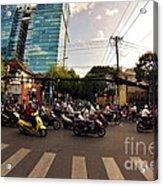 Motorbikes In Traffic Acrylic Print