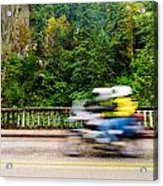 Motorcycle And Green Forest Acrylic Print