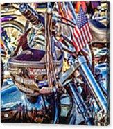 Motorcycle Helmet And Flag Acrylic Print