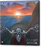 Motorcycle Sunset Acrylic Print