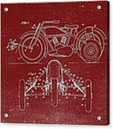 Motorcycle Support Patent Drawing From 1932 3 Acrylic Print
