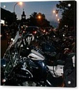 Motorcycles At Americade Lined Up Acrylic Print