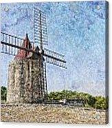 Moulin De Daudet Fontvieille France On A Texture Dsc01833 Acrylic Print