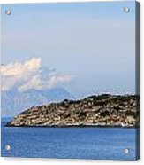 Mount Athos In Clouds View From Sithonia Greece Acrylic Print