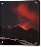 Mount Etna Erupting At Night, 2012 Acrylic Print
