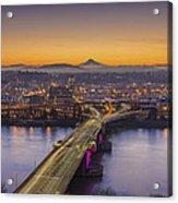 Mount Hood And Morrison Bridge Acrylic Print