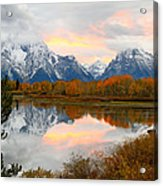 Mount Moran Reflection Sunset Acrylic Print