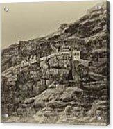 Mount Of The Temptation Monestary Jericho Israel Antiqued Acrylic Print