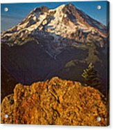 Mount Rainier At Sunset With Big Boulders In Foreground Acrylic Print